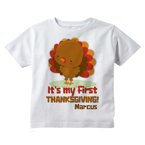It's My First Thanksgiving tee shirt in short or long sleeve, Personalized with child's name 11042015a