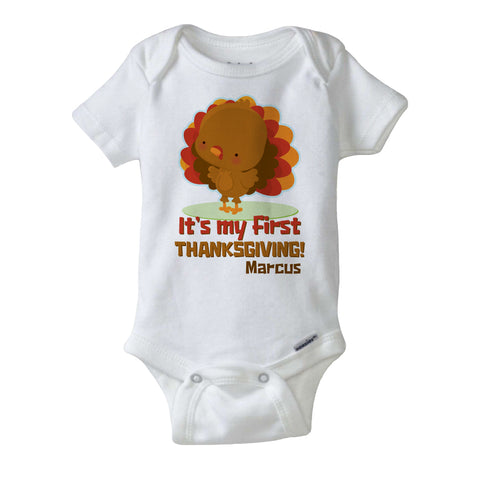 It's My First Thanksgiving Onesie Bodysuit in short or long sleeve, Personalized with child's name 11042015a