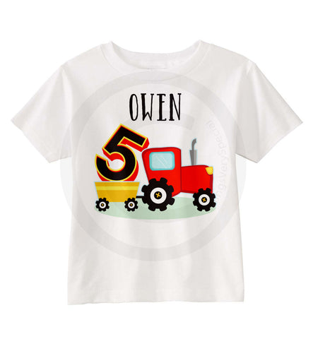 Boy's Red Tractor Birthday Shirt
