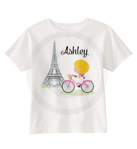 Paris Theme Girl on Bicycle Shirt