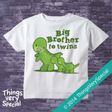 Dinosaur Big Brother to Twins Shirt or Onesie Bodysuit 11202014c