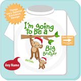 Christmas theme I'm going to be a big brother Shirt with Holiday Monkeys 11262012a