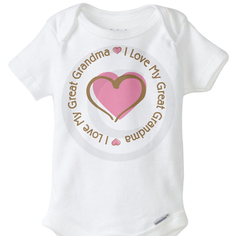 I Love my Great Grandma Onesie Bodysuit with Pink Heart 11262013a