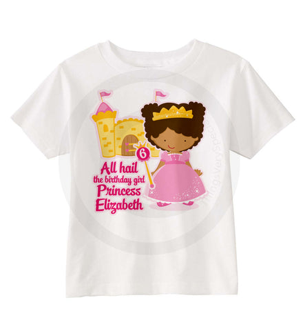 Birthday Princess Shirt with Brown Skin Princess