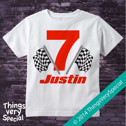 7th Birthday Checkered Flag - Racer Birthday Shirt - Personalized Birthday Boy Racing Theme Tee Shirt 12092014c