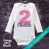 Girl's Second Birthday Shirt or Onesie with big Pink number 12122011b