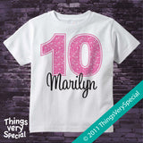 Girl's Tenth Birthday Shirt with big Pink number 12122011b
