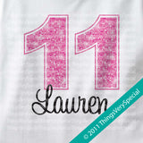 Girl's Eleventh Birthday Shirt with big Pink number 12122011b