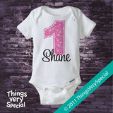 Girl's First Birthday Shirt or Onesie with big Pink number 12122011b