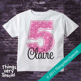 Girl's Fifth Birthday Shirt with big Pink number 12122011b