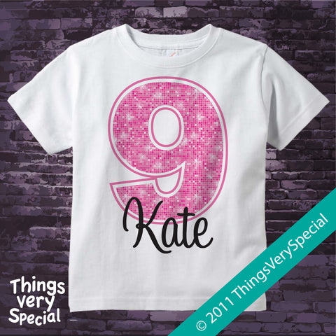 Girl's Ninth Birthday Shirt with big Pink number 12122011b