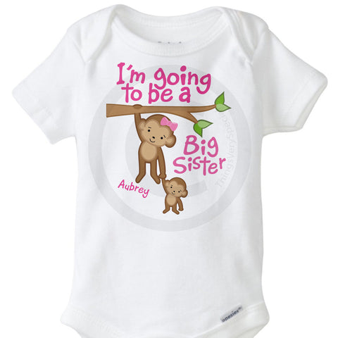 I'm going to be a big sister Monkey Onesie Bodysuit