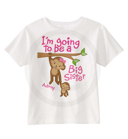 I'm going to be a big Sister Shirt with Cute Monkeys