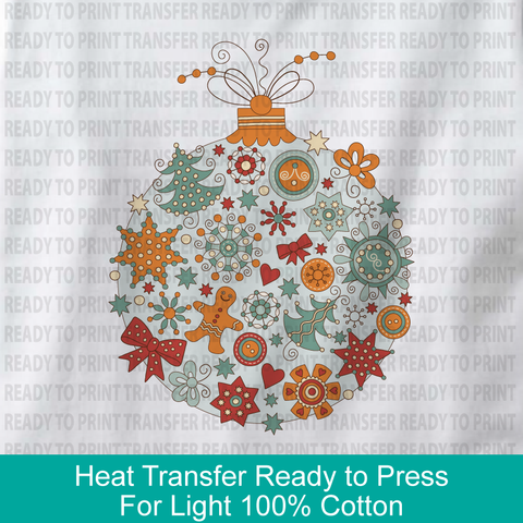 Christmas Ornament Heat Transfer Ready to Press - For White and Light Color 100% cotton garments - 12142018d