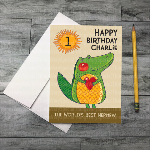 1st Birthday Card for Nephew with Dinosaur