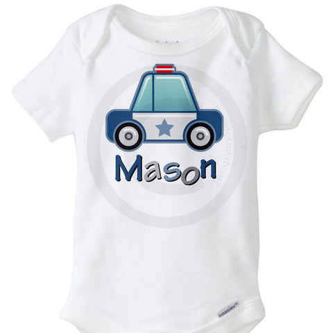 Personalized Police Car Onesie Bodysuit