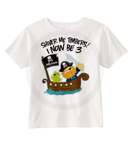 3 Years Old 12192013a Boys Pirate Third Birthday Shirt