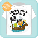 Three Year old Pirate Birthday Shirt, Shiver Me Timbers I now be 3 years old 12192013a