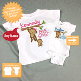 Big Sister Little Brother set, Sibling Shirt set, Personalized T-shirt and Onesie with Cute Monkeys 12242013a