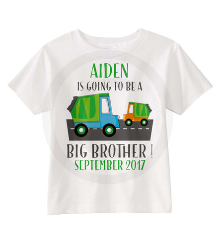 Big Brother Shirt - Garbage Truck Personalized shirt for Big Brother