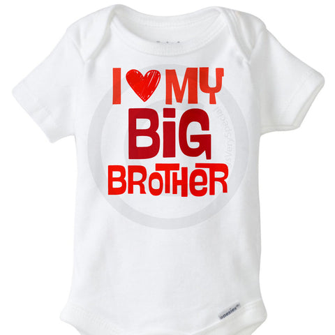 Valentine's Day Onesie for sibling, I Love My Big Brother Onesie Bodysuit - 12282016b