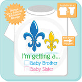 Mardi Gras Fleur de Lis Gender Reveal t-shirt - Boy's Gender Reveal top - 12302015b