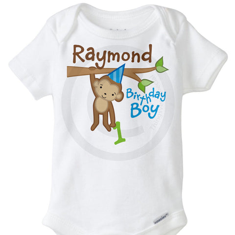 Boy's First Birthday Onesie with Monkey - Jungle or Zoo Theme