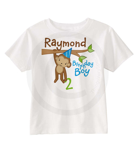 Boy's Monkey Second Birthday Shirt.
