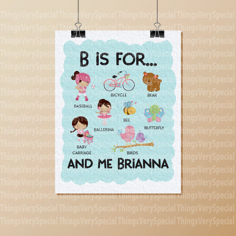 Alphabet Wall Art for Child's Room, Gift for Child, Name Starts with B for girls