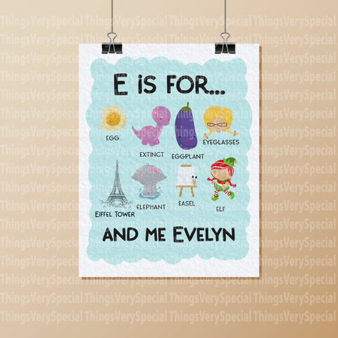 Alphabet Wall Art for Child's Room, Gift for Child, Name Starts with E for girls