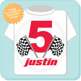 Birthday Checkered Flag - Racer Birthday Shirt - Personalized Birthday Boy Racing Theme Tee Shirt 04242012a