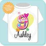 Girl's Birthday shirt with fancy number 09112013a