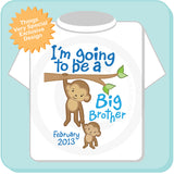I'm Going to Be A Big Brother Shirt with Due Date and Monkey 07122012a