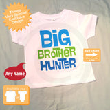 Big Brother Shirt Personalized Infant, Toddler or Youth Tee Shirt Blue and Green Text t-shirt 06142012a