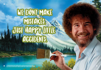 Tin Sign: Bob Ross - Happy Little Accidents