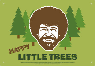 Tin Sign: Bob Ross - Happy Trees
