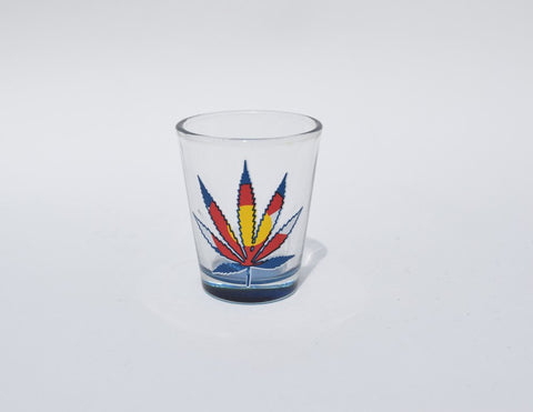 Colorado Shot Glass: MJ Flag (Clear)