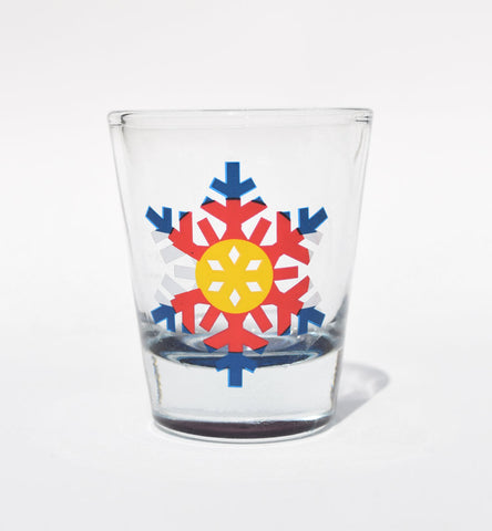 Colorado Shot Glass: Snowflake Flag (Clear)