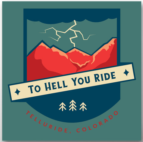 """To Hell You Ride"" Magnet: Square (3"")"