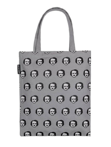 Tote Bag: Edgar Allan Poe-ka Dots - Gray