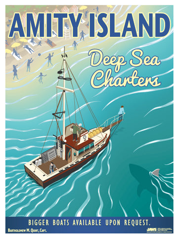 "Amity Island ""Deep Sea Charters"" Vintage Travel Lithograph (Jaws)"