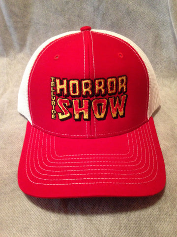 Telluride Horror Show Hat: Embroidered Logo (Red/White)