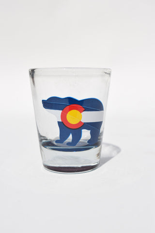 Colorado Shot Glass: Bear Flag (Clear)