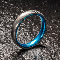 Wood Grain Damascus Steel Ring - Resilient Blue - 4MM