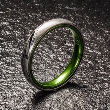 Load image into Gallery viewer, Wood Grain Damascus Steel Ring - Resilient Green - 4MM