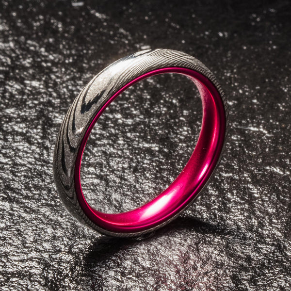 Wood Grain Damascus Steel Ring - Resilient Pink - 4MM