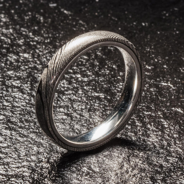 Wood Grain Damascus Steel Ring - Sterling Silver - 4MM