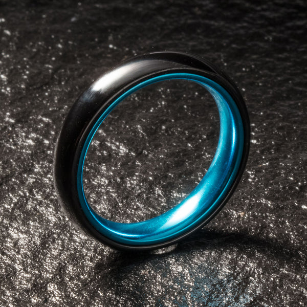 Black Ceramic Ring - Resilient Blue - 4MM