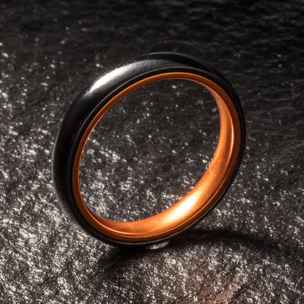 Black Ceramic Ring - Resilient Orange - 4MM