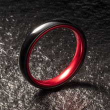 Load image into Gallery viewer, Black Ceramic Ring - Resilient Red - 4MM